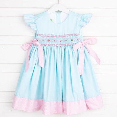 Smocked Beverly Dress Mint Pique