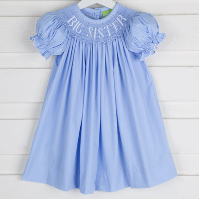 Smocked Big Sister Bishop Light Blue