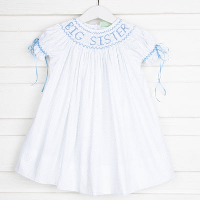 Smocked Big Sister w Bows Bishop Blue Polka Dot