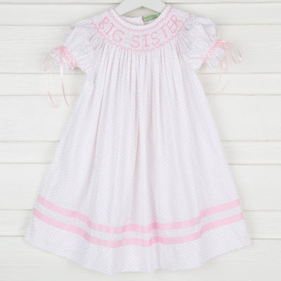 Smocked Big Sister w Bows Bishop Pink Polka Dot