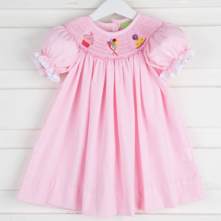 Smocked Birthday Celebration Bishop Pink Gingham