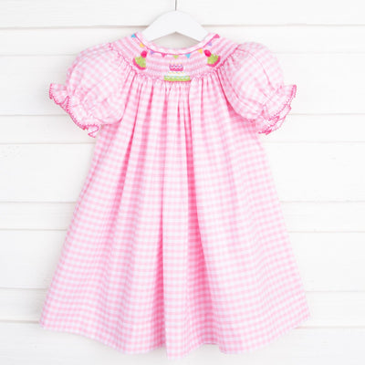 Smocked Birthday Party Bishop Pink Check