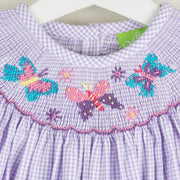 Smocked Butterflies Lavender Seersucker Gingham Dress