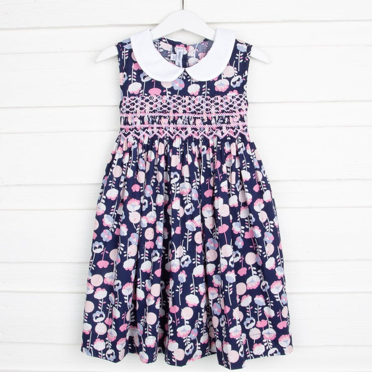 Smocked Collared Dress Navy Floral