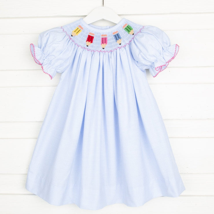 Smocked Pencil Bishop Light Blue Gingham