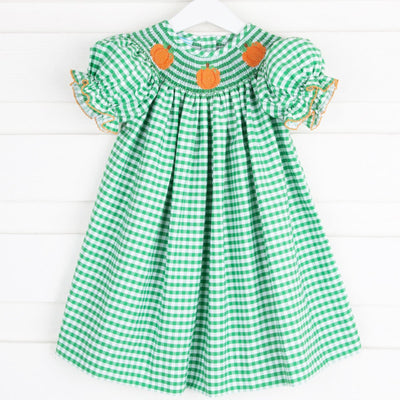 Smocked Pumpkin Bishop Green Check