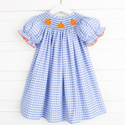 Smocked Pumpkin Bishop Light Blue Check