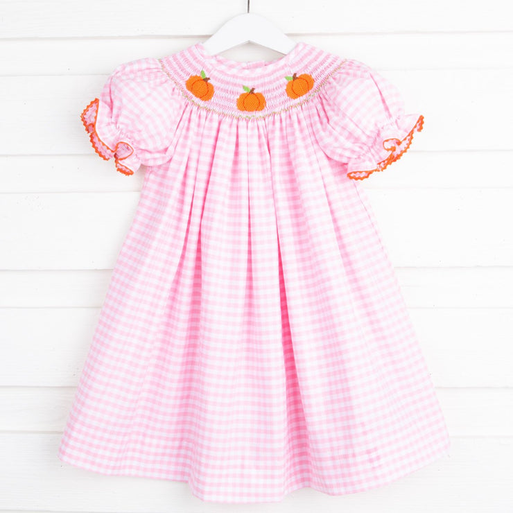 Smocked Pumpkin Bishop Pink Check