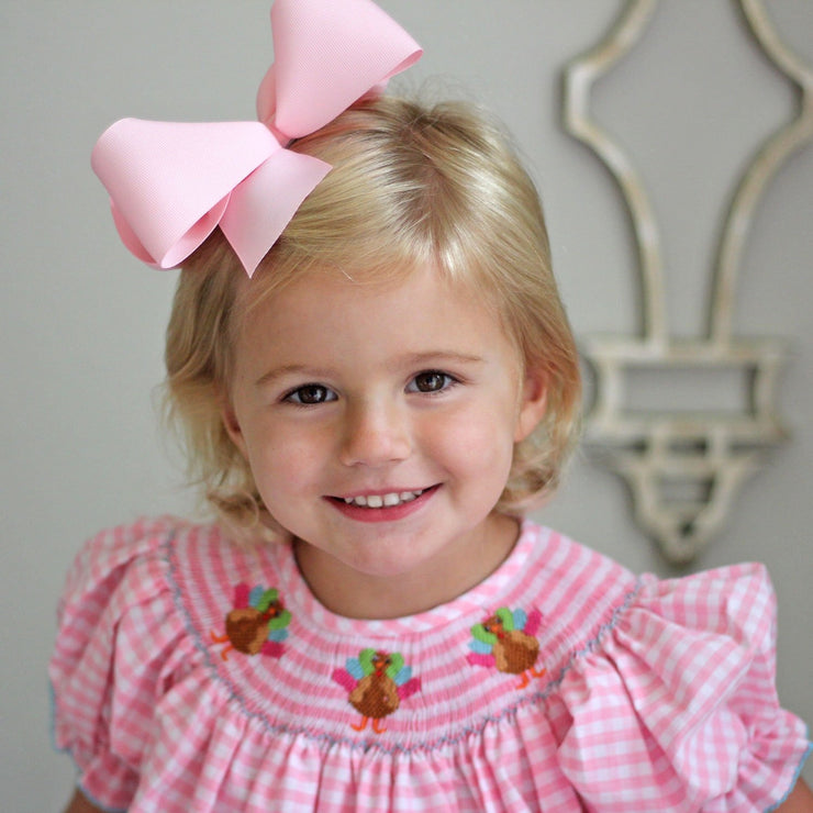 Smocked Turkey Bishop Pink Gingham