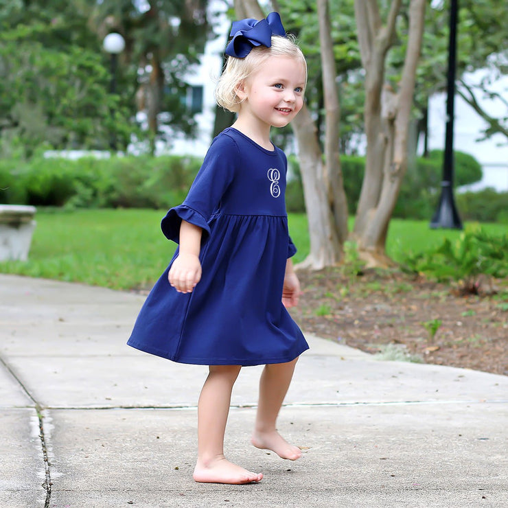 Sophia Navy Knit Ruffle Dress