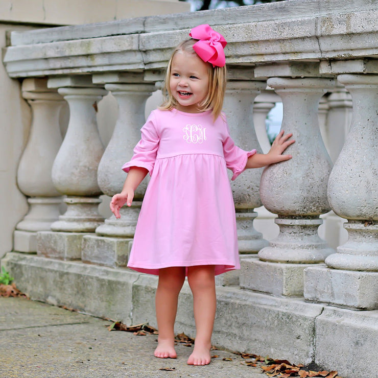 Sophia Pink Knit Ruffle Dress