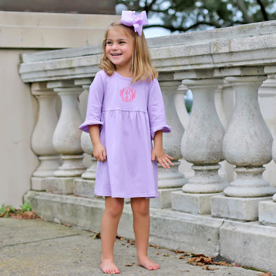 Sophia Purple Knit Ruffle Dress