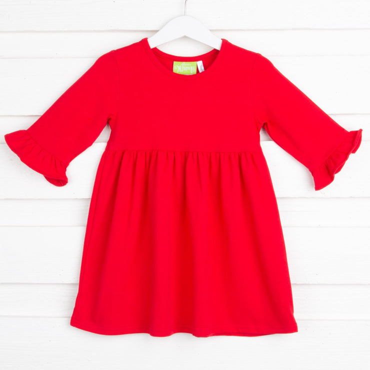 Sophia Red Knit Ruffle Dress