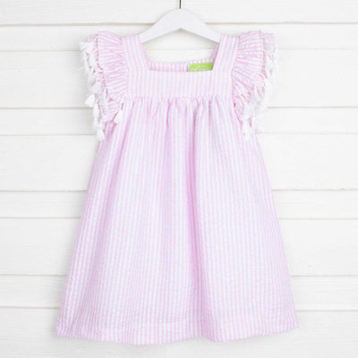 Striped Poppy Dress Light Pink Seersucker