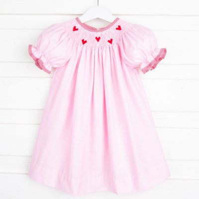 Tiny Heart Smocked Bishop Light Pink Gingham