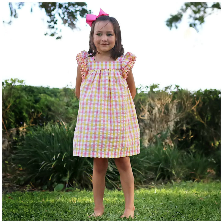 Tropical Poppy Dress Yellow and Coral Plaid Seersucker