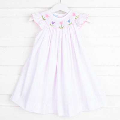 Tulip Smocked Dress Pink Dot