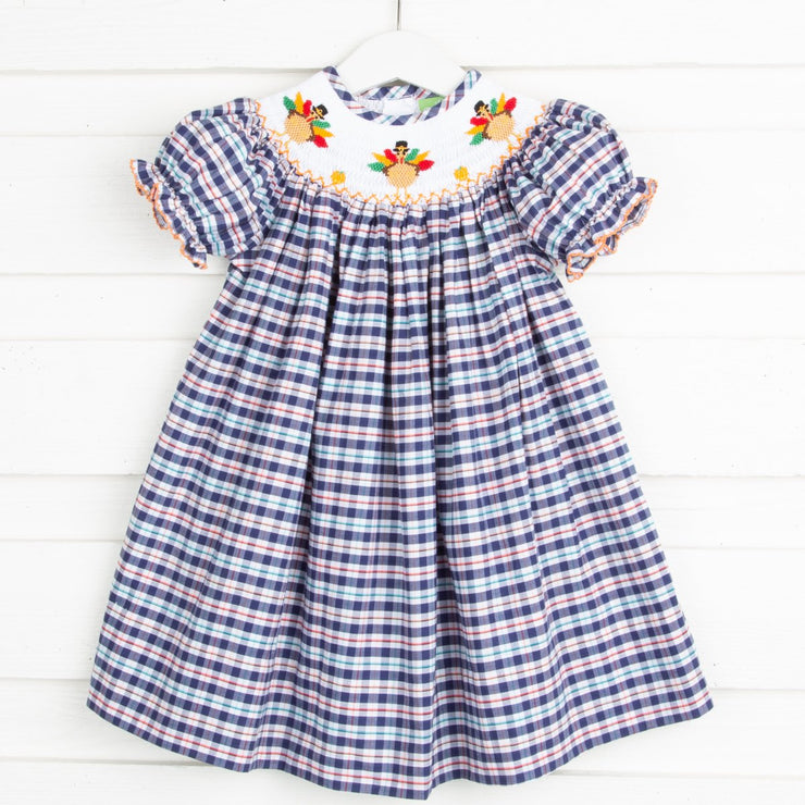 Turkey Smocked Bishop Navy Plaid