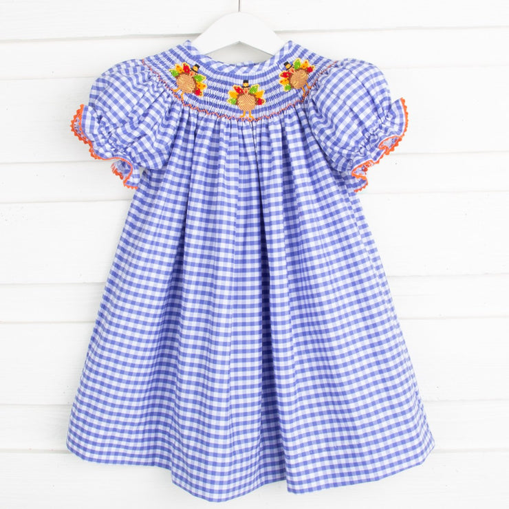 Turkey Smocked Bishop Royal Check