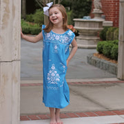 Turquoise Embroidered Girls Dress