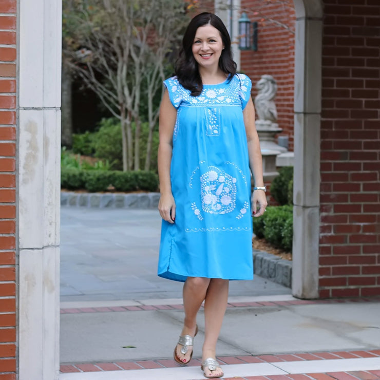 Turquoise Embroidered Ladies Dress