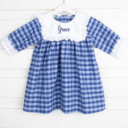 Two Toned Blue Plaid Hattie Dress