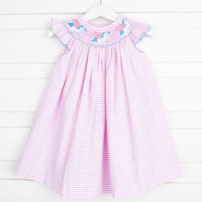 Unicorn Smocked Dress Pink Seersucker Stripe