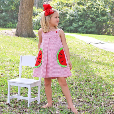 Watermelon Applique Jumper Red Windowpane Seersucker