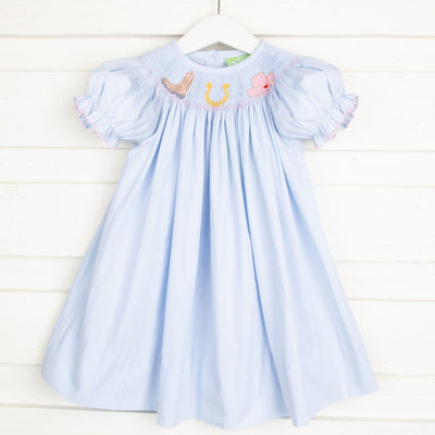 Western Smocked Bishop Light Blue Gingham