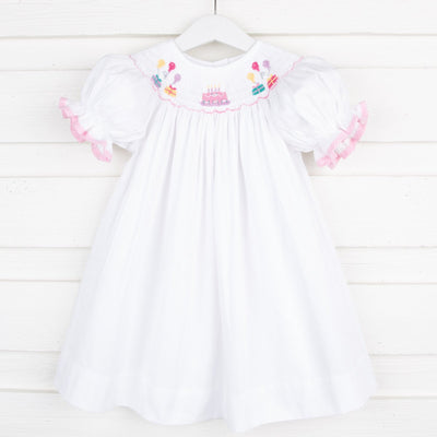 White Pique Birthday Celebration Smocked Bishop