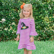 Witch Hat Applique Dress Purple Stripe