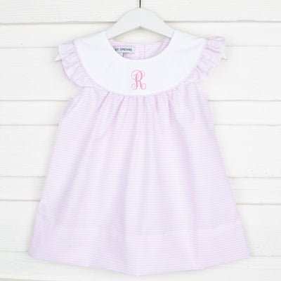 Yoke Neck Dress Pink Stripe