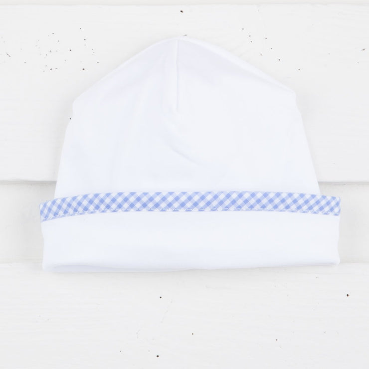 Knit Baby Cap w Blue Gingham Trim