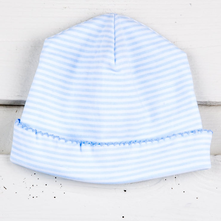 Light Blue and White Striped Baby Cap