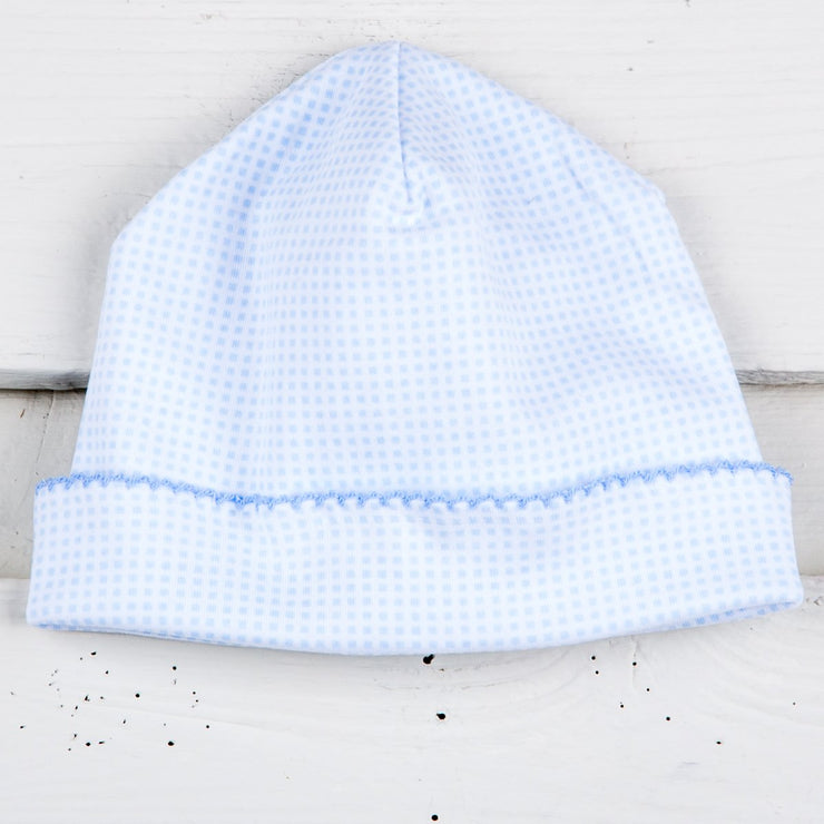 Light Blue Gingham Baby Cap