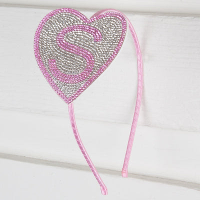 Crystal Heart Initial Headband Pink