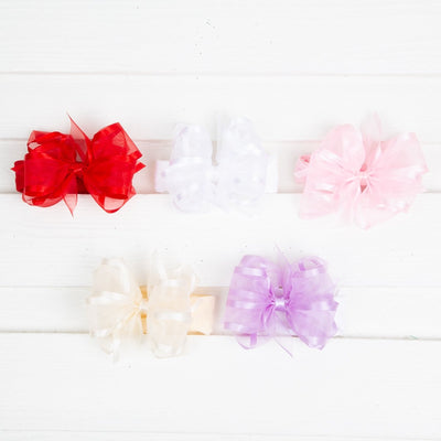 Medium Organza Overlay Bow Baby Band