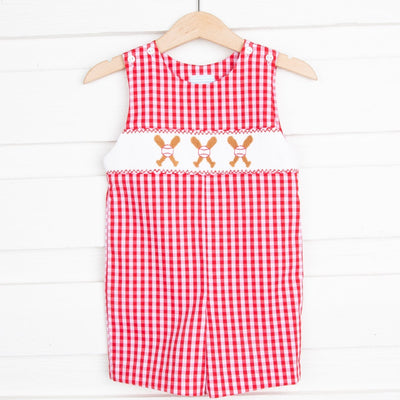 Baseball Smocked Jon Jon Red Check