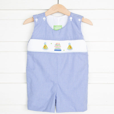 Birthday Smocked Jon Jon Royal Blue Gingham