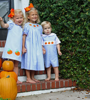 Chambray Smocked Pumpkin Jon Jon