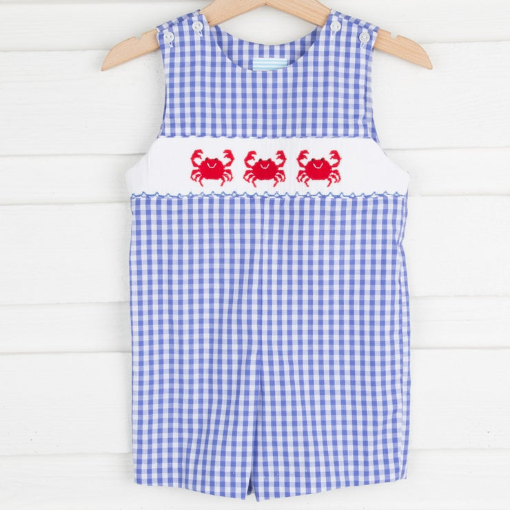 Crab Smocked Jon Jon Royal Blue Check