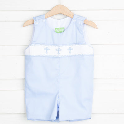 Cross Smocked Jon Jon Light Blue Pique