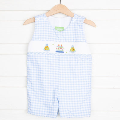 Jon Jon Smocked Birthday Party Light blue Check