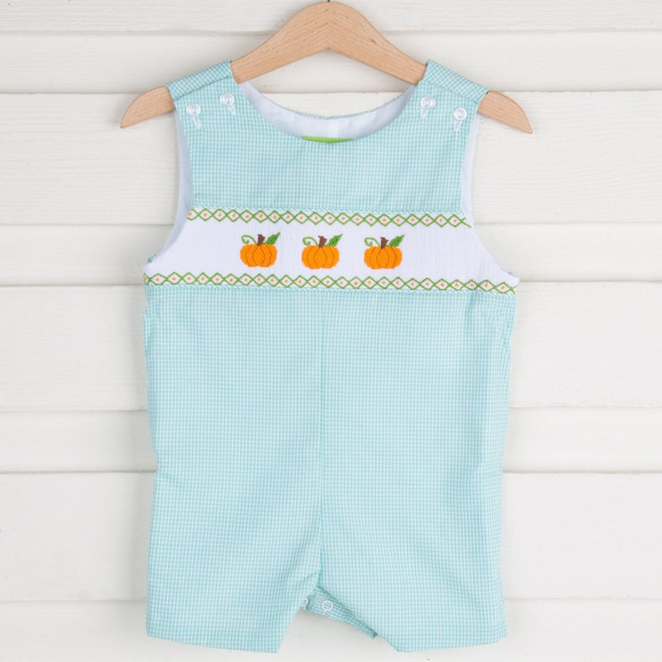 Pumpkin Smocked Jon Jon Mint Gingham