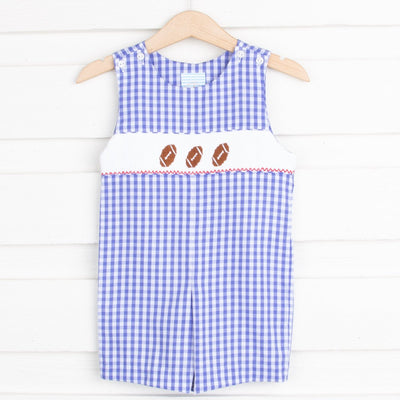 Royal Check Football Smocked Jon Jon