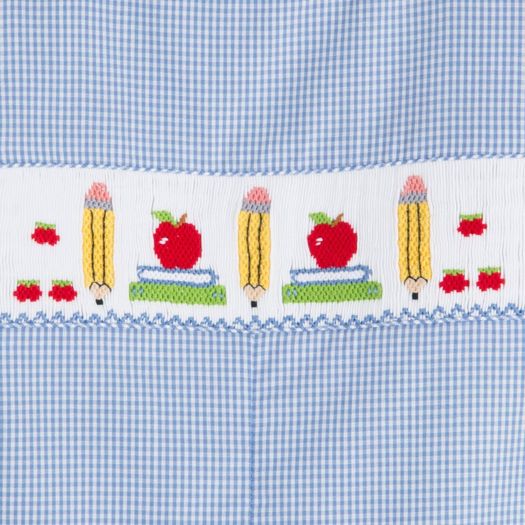 Smocked Back to School Jon Jon Blue Gingham