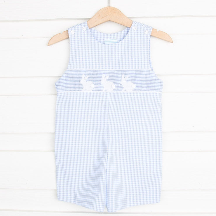 Smocked Bunny Silhouette Jon Jon Light Blue Seersucker