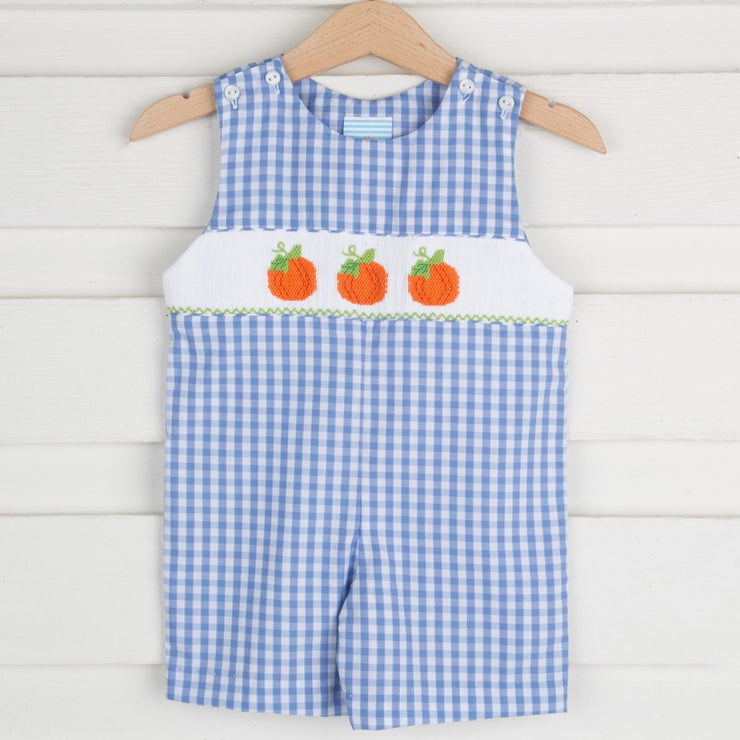 Smocked Pumpkin Jon Jon Light Blue Gingham