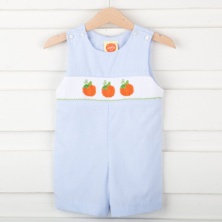 Smocked Pumpkin Jon Jon Light Blue Micro Check