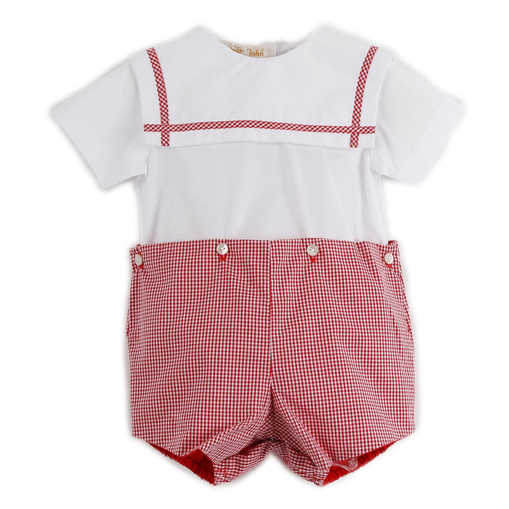 Collared Button On Romper White and Red Gingham